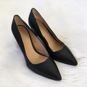 Franco Sarto Black Leather Pointed Toe Pumps Heels